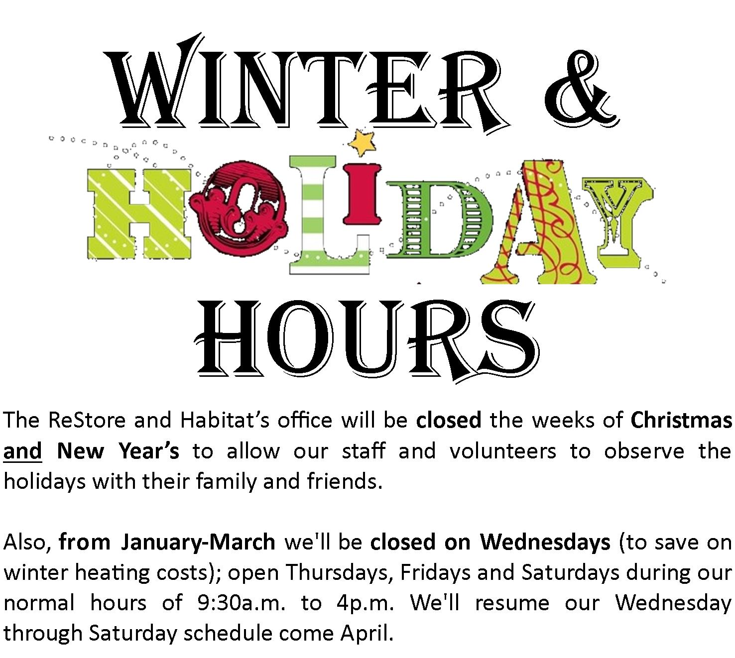Winter and Holiday Hours ReStore